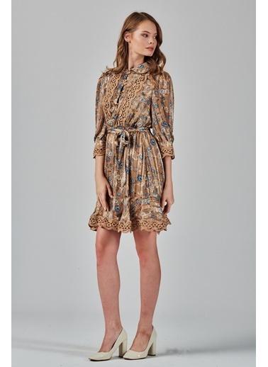 JEANNE D'ARC  Dantel Detaylı Çiçek Desenli Elbise  Kahve